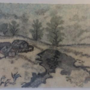 Пейзаж, выполненный из тополиного пуха