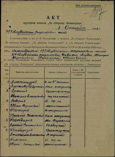 1 стр. Акт вручения медали за оборону Ленинграда